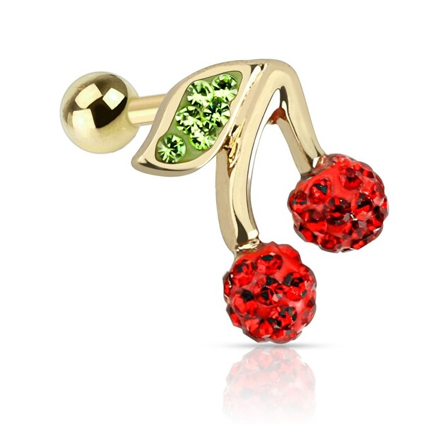 {Red} Cherry with Red and Green CZ Gold IP 316L Surgical Steel Tragus (Sold Ind.)
