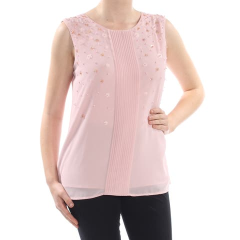 TAHARI Womens Pink Pleat Front Beaded Georgette Sleeveless Jewel Neck Blouse Top Size: M