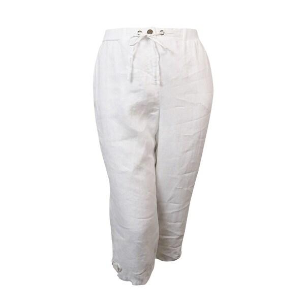 JM Collection Women's Wide Leg Linen Capris - Bright White