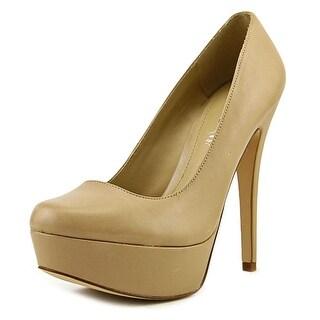 Aldo Prue Women  Open Toe Leather Tan Platform Heel