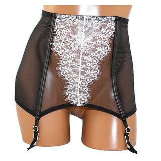 Victoria's Secret Very Sexy Faux Leather & Lace Garter Belt Black/White L - Large