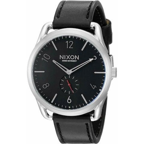 Nixon Men's A465-008 'C45 Leather' Black Leather Watch