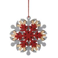 "5"" Alpine Chic Wooden Red and Gray Snowflake Christmas Ornament"