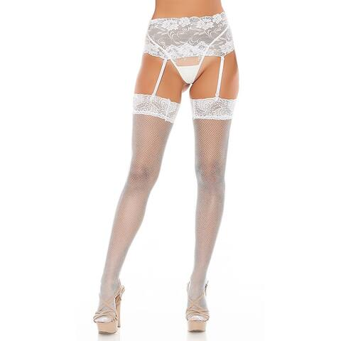 Lovely Lace Garter Stockings - White - One Size Fits Most