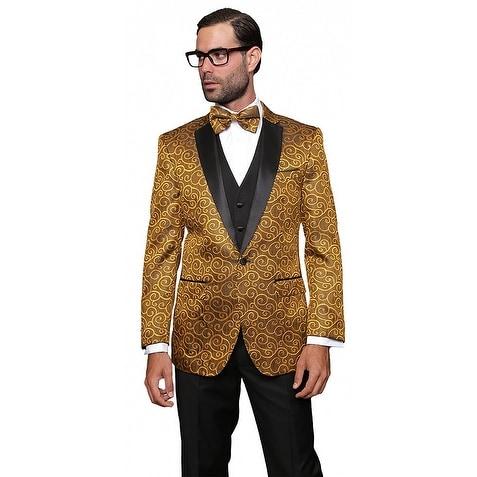 BELLAGIO Men's 3pc Gold Suit, Modern Fit, 2 Button, 2 Side Vent, solid black Flat Front Pants