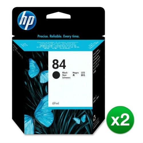HP 84 69-ml Black DesignJet Ink Cartridge (C5016A) (2-Pack)