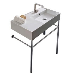 "Nameeks Scarabeo 5118-CON  Scarabeo Teorema 2.0 32"" Rectangular Ceramic Console Bathroom Sink with Overflow"