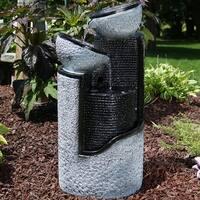 Sunnydaze Gray Stone Pillar & Silver Bowls Solar on Demand Fountain - 27 Inch