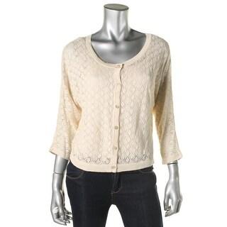 Jones New York Womens Linen 3/4 Sleeves Cardigan Top - L