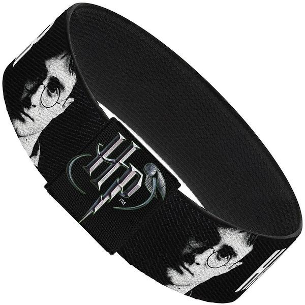 """Harry Potter Face Black Grays White Elastic Bracelet   1.0"""" Wide"""