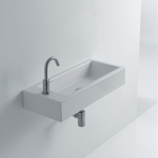 """WS Bath Collections Hox Large 70R WS08401F Whitestone 27-3/5"""" Ceramic Wall Mounted or Vessel Bathroom Sink with Single Faucet"""