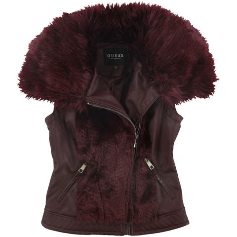 GUESS Womens Posh Faux Leather & Faux Fur Vest, Red, Small