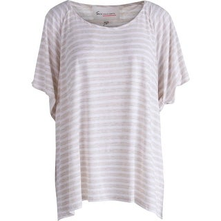 Two by Vince Camuto Womens Striped Open Shoulder Pullover Top
