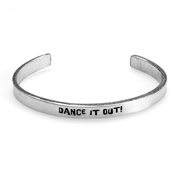 Women's Note To Self Inspirational Lead-Free Pewter Cuff Bracelet - Dance It Out - Silver