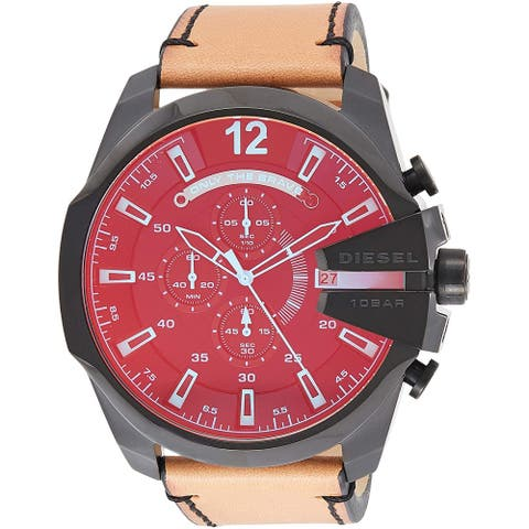 Diesel Men's DZ4476 Mega Chief Stainless steel and Leather Chronograph Watch - 1 Size