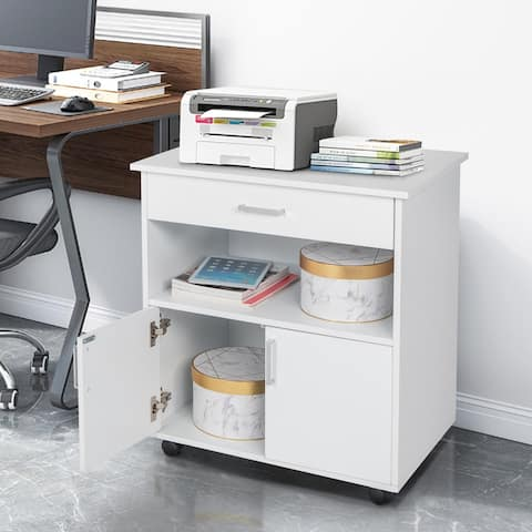 One Layer 2 Doors Wooden Filing Cabinet with Drawer White