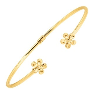 Eternity Gold Floral Edge Cuff Bracelet in 14K Gold - Yellow