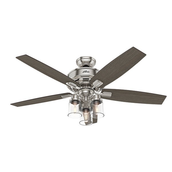 """Hunter 52"""" Bennett Ceiling Fan with 3-Light Light Kit and Handheld Remote. Opens flyout."""