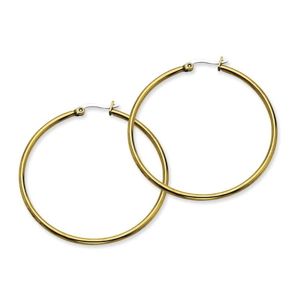 Stainless Steel Gold-plated 48mm Hoop Earrings