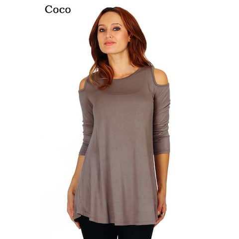 4d6c070afd17d1 Simply Ravishing Women's Cold Shoulder Flare 3/4 Sleeve Blouse Top Tunic  Shirt (Size