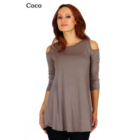 239e524a18c7b Simply Ravishing Women's Cold Shoulder Flare 3/4 Sleeve Blouse Top Tunic  Shirt (Size