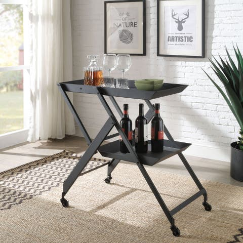 Furniture of America Zonnie Contemporary Folding Server Cart