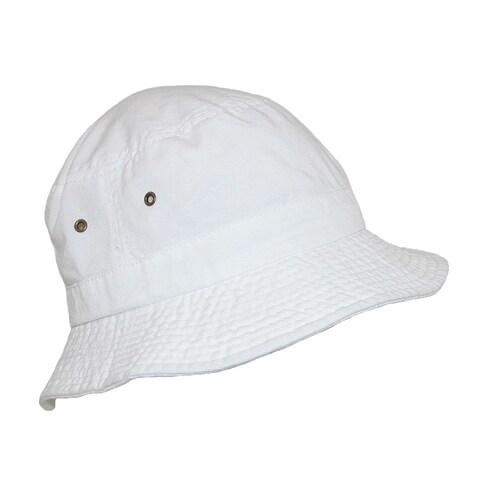 Dorfman Pacific Cotton White Crushable Summer Sun Bucket Hat