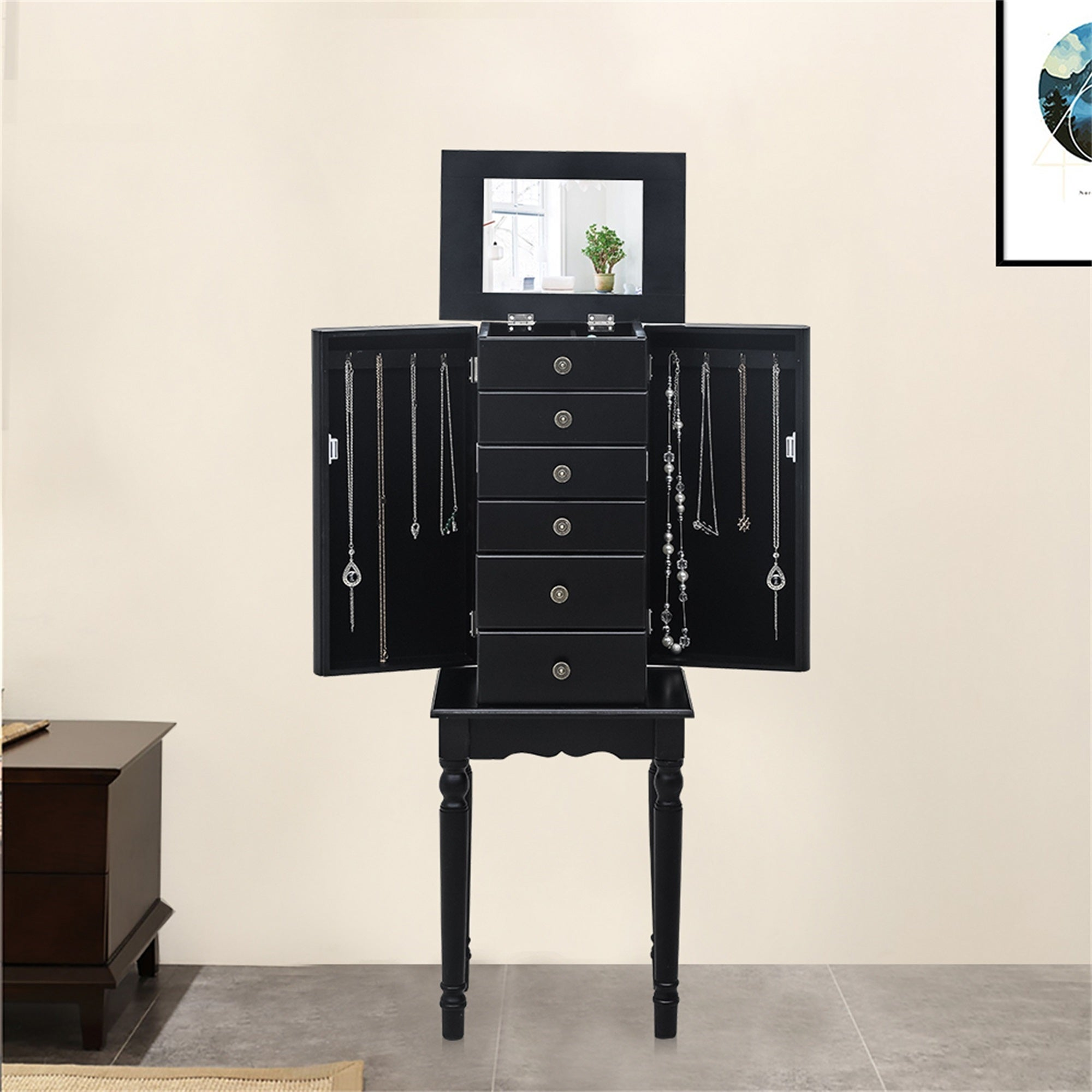 Image of: Shop Standing Jewelry Armoire With Mirror 5 Drawers 6 Necklace Hooks On Sale Overstock 31721607