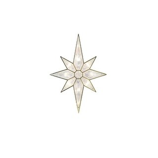 """11"""" Lighted Faceted Gold Bethlehem Star Christmas Tree Topper - Clear Lights"""