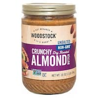 Woodstock Unsalted Crunchy Almond Butter - Case of 12 - 16 oz.