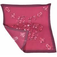 "Gucci Women's 394545 Burgundy Red GG Floral Print Silk Twill Neck Scarf - 27"" x 27"""
