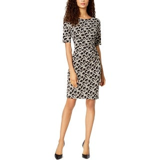 Connected Apparel Womens Petites Sheath Dress Wear To Work Printed
