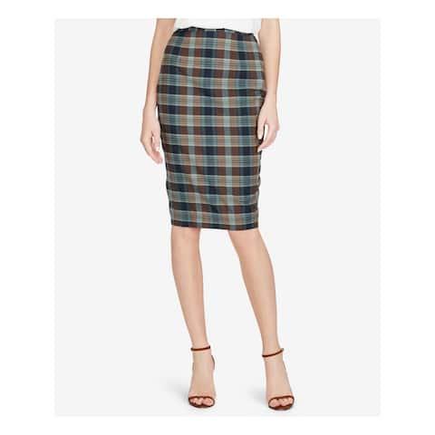 RALPH LAUREN Womens Brown Plaid Knee Length Pencil Skirt Size 12