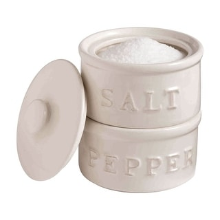 Salt and Pepper Stackable Holders Cellar Set - By Mud Pie