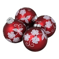 "4-Piece White Floral Pattern on a Red Glass Ornament Set 3.25"" (80mm)"