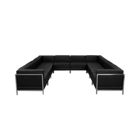 Offex 10 Piece Contemporary Black Leather U-Shape Reception Area Sectional Configuration [OFX-274386-FF]