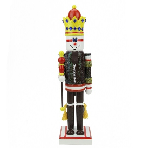"14"" Decorative Brown and Red TootsieRoll King Wooden Christmas Nutcracker Figure"