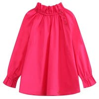 Richie House Little Girls Fuchsia Pleated Collar Long Sleeve Pullover Shirt 2-6