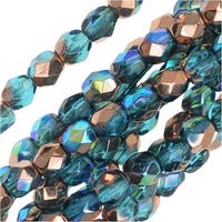 Czech Fire Polished Glass, Faceted Round Beads 4mm, 40 Pieces, Aqua Copper Rainbow