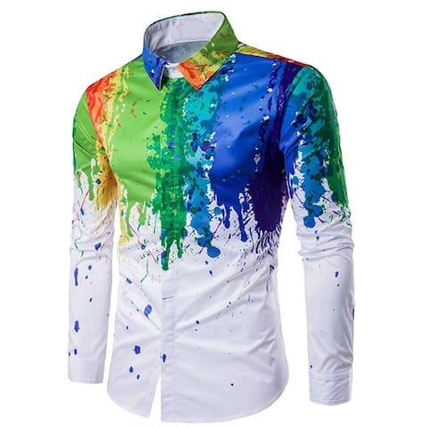 Men's Shirts Printed Slim Fit Long Sleeve Dress Button Down Shirts