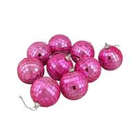 """9ct Hot Pink Mirrored Glass Disco Ball Christmas Ornaments 2.5"""" (60mm)"""