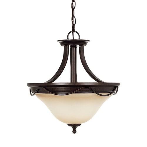 Sea Gull Lighting 77497-710 2-Light Semi-Flush Convertible Pendant Burnt Sienna - burnt sienna finish