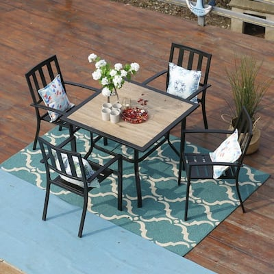 PHI VILLA 5-Piece Patio Wood-Like Square Table and Metal Stackable Chairs Dining Set