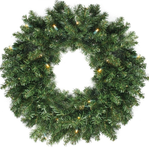 """24"""" Canadian Pine Artificial Christmas Wreath - Warm Clear LED Lights - green"""