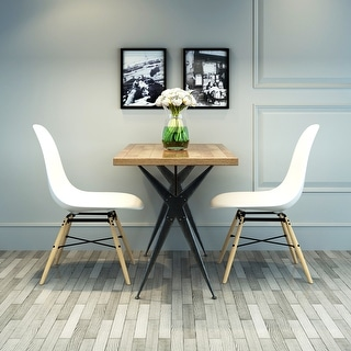 VECELO Eames Style Modern Side Chair with natural wood legs, set of 2 Dinning chairs - White
