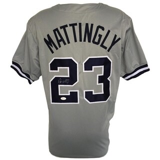 Don Mattingly Signed Custom Gray Pro-Style Baseball Jersey JSA ITP