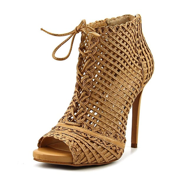 Jessica Simpson Rendy Women Peep-Toe Leather Tan Ankle Boot