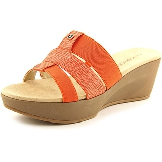 Bandolino Doveva Women Open Toe Synthetic Orange Slides Sandal