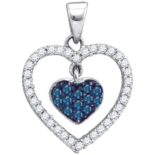Heart Pendant 10K White-gold With Blue and White Diamonds 0.33 Ctw By MidwestJewellery