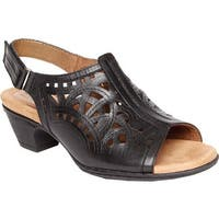 Rockport Women's Cobb Hill Abbott Hi Vamp Sling Sandal Black Leather